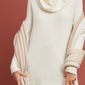 Anthropologie Sweaters - Anthro Ivory White Turtleneck Cowl Neck Sweater S